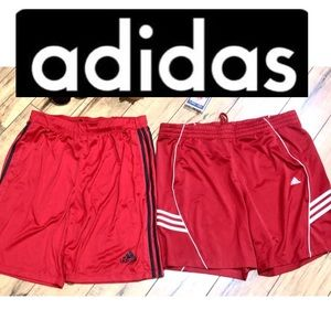 2 Pairs of Adidas Red Climalite Shorts Sizes L/XL